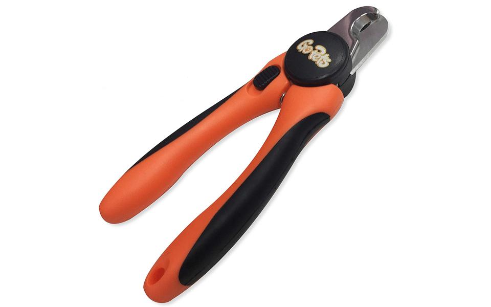 Clește pentru câini GoPets Nail Clipper portocaliu cu negru.