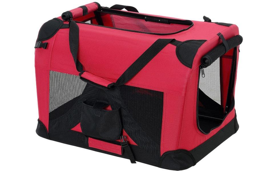 Cușcă transport pentru căței [pro.tec]® roșie.
