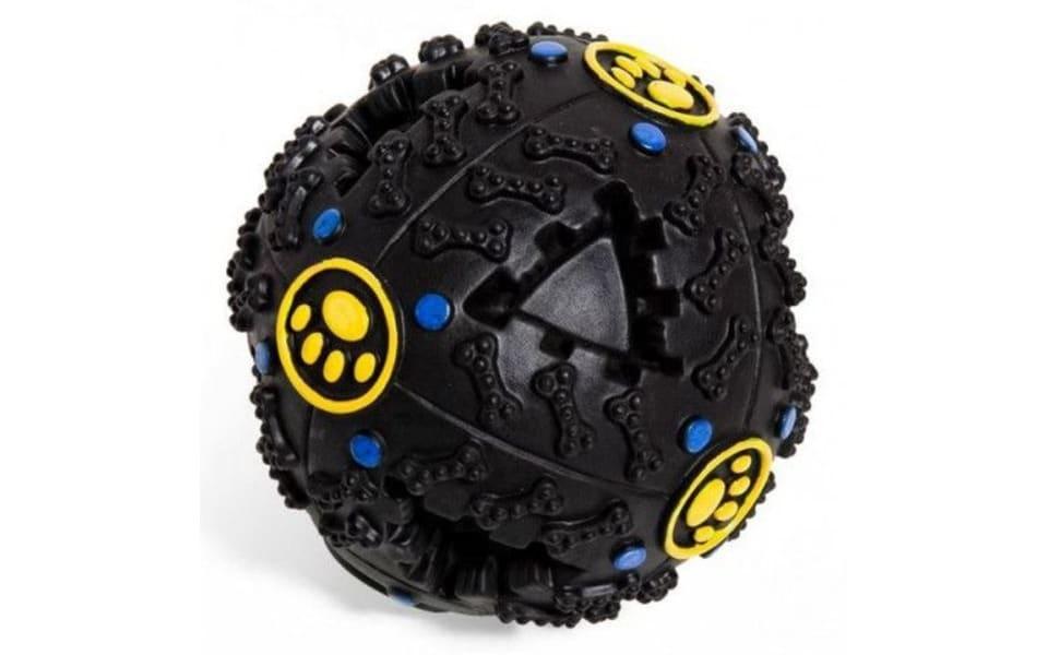 Jucărie pentru câini minge interactivă cu sunete neagră.