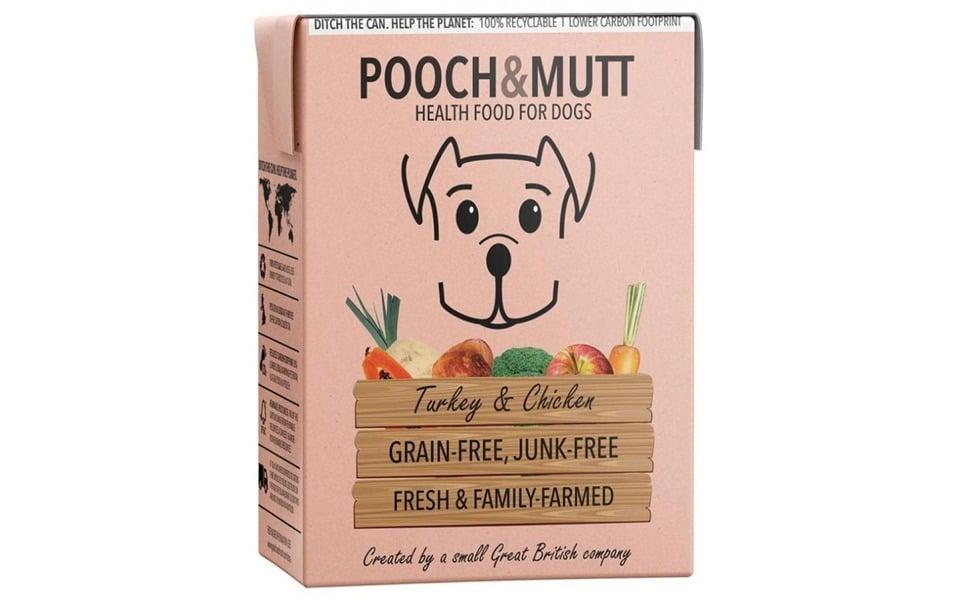 Cutie cu mâncare pentru câine Pooch & Mutt.