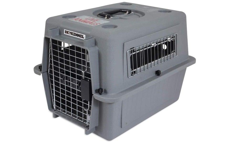 Cușcă transport pentru căței Petmate Sky Kennel Pet Carrier gri.