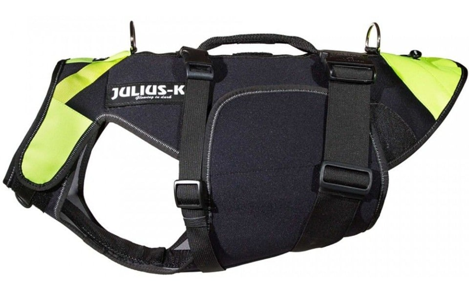 Vestă de salvare IDC Julius K9 negru cu galben.