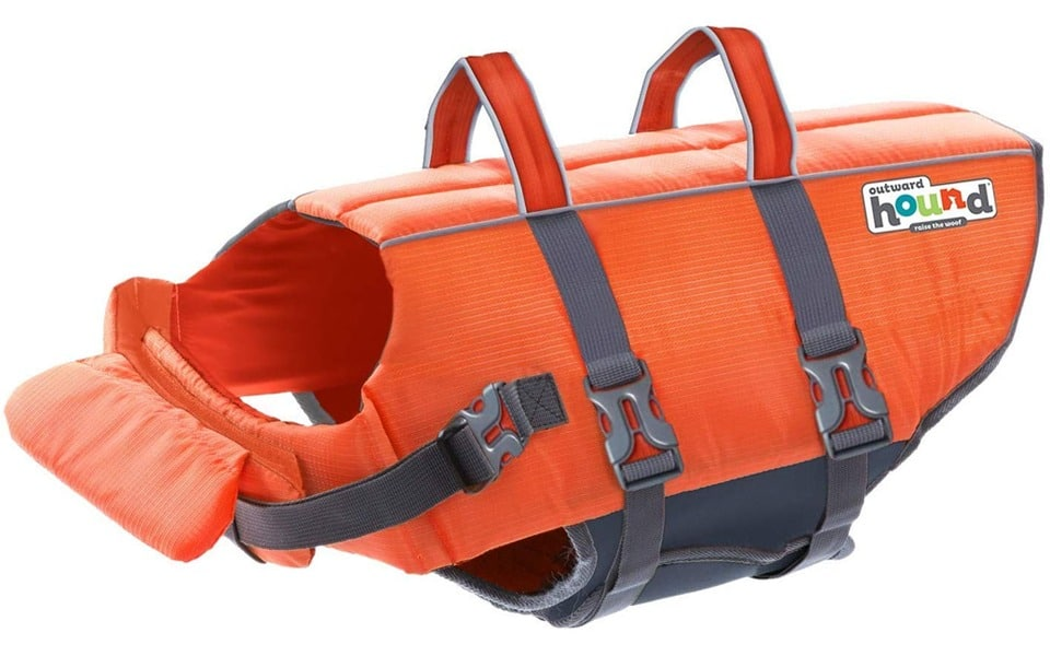 Vestă de salvare pentru câini Outward Hound Granby roșie.