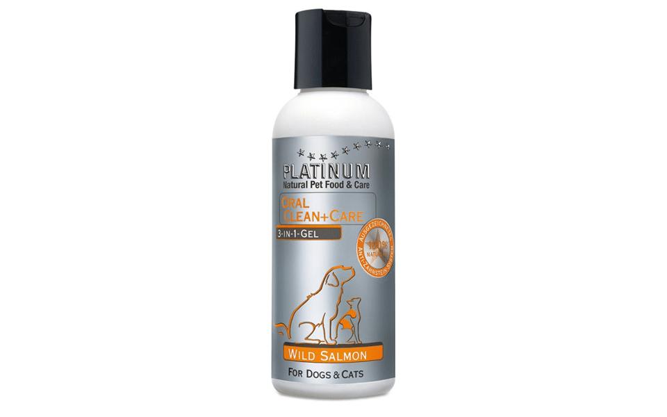 Sticlă gel anti-tartru pentru câini Platinum Oral Clean & Care Wild Salmon.
