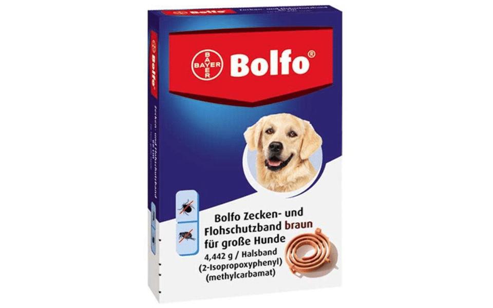Cutie zgardă anti purici pentru câini Bolfo.