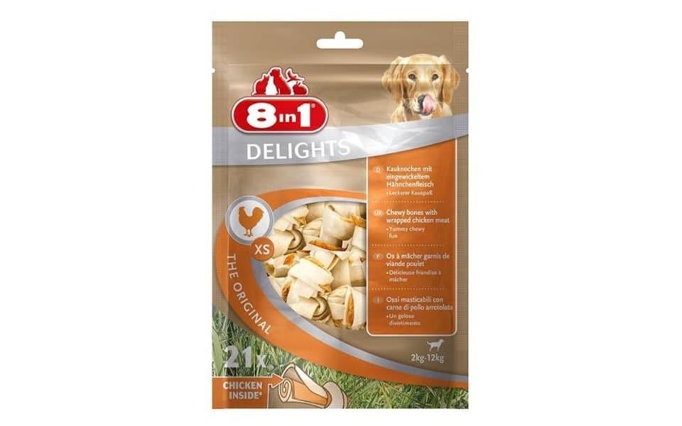 Punga cu oase de mestecat de vita pentru caini Delights 8 in 1.