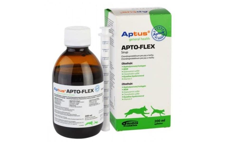 Flacon și cutie supliment cu glucozamină pentru câini Aptus Apto-Flex Vet Syrup.