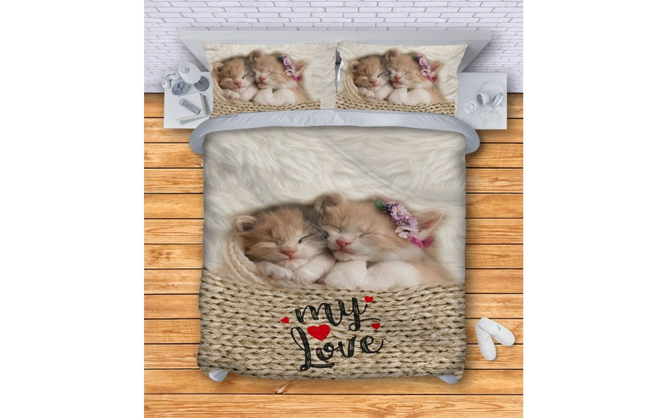 Lenjerie de pat 3D cu pisici.