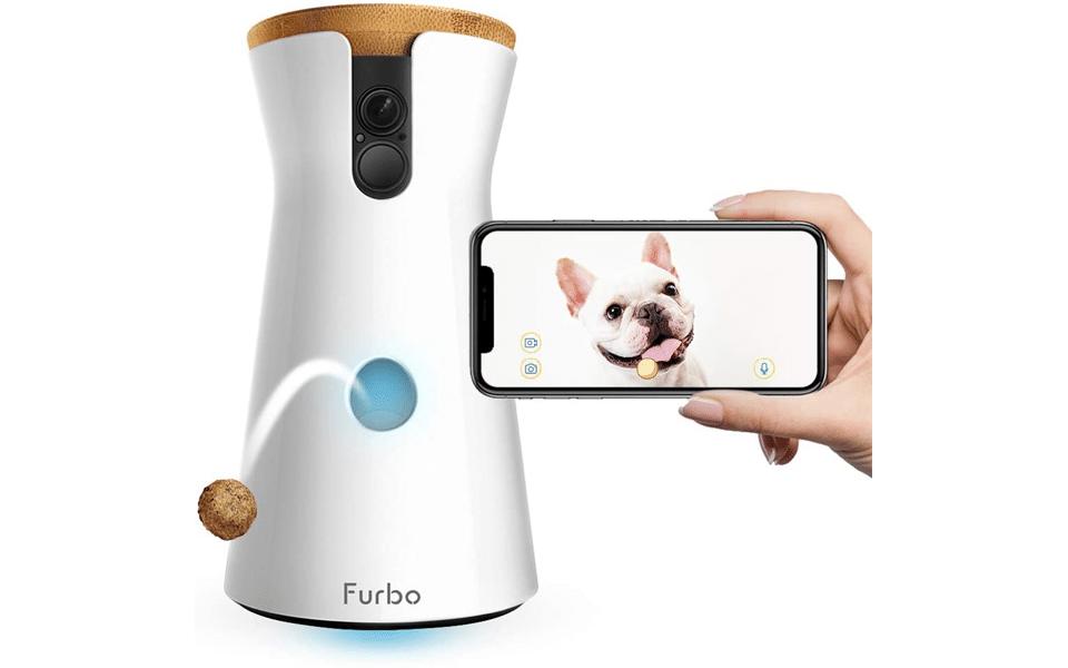 Mana tinand un telefon langa Furbo Dog Camera.