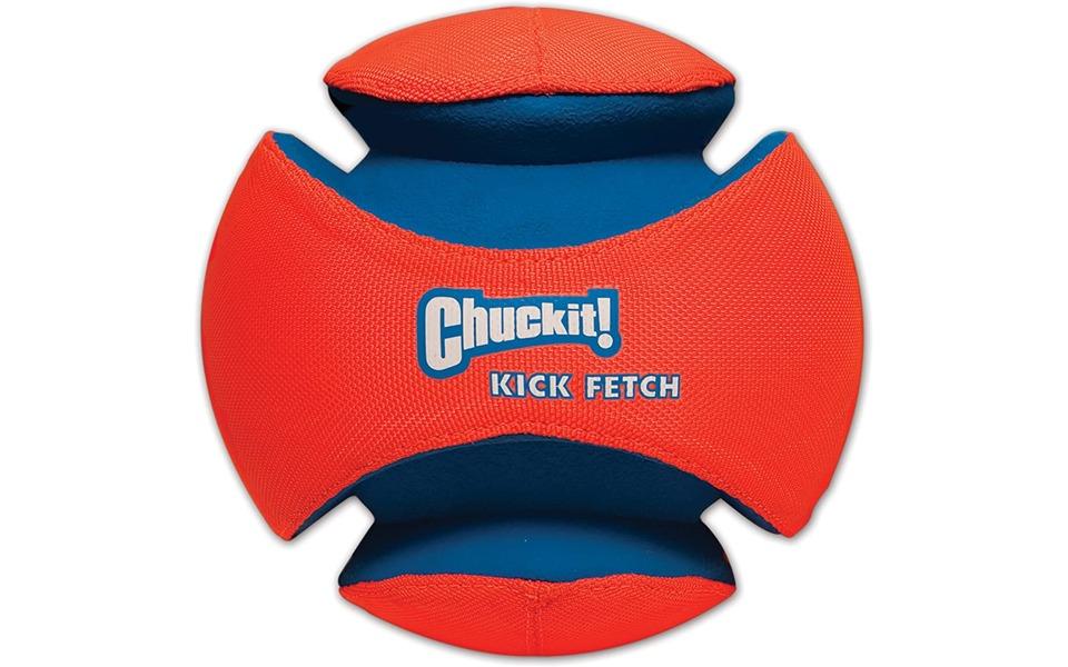 Jucarie pentru catei Chuckit Kick Fetch rosu cu albastru.