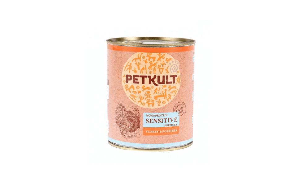 Conserva cu mancare pentru caini Petkult Sensitive.
