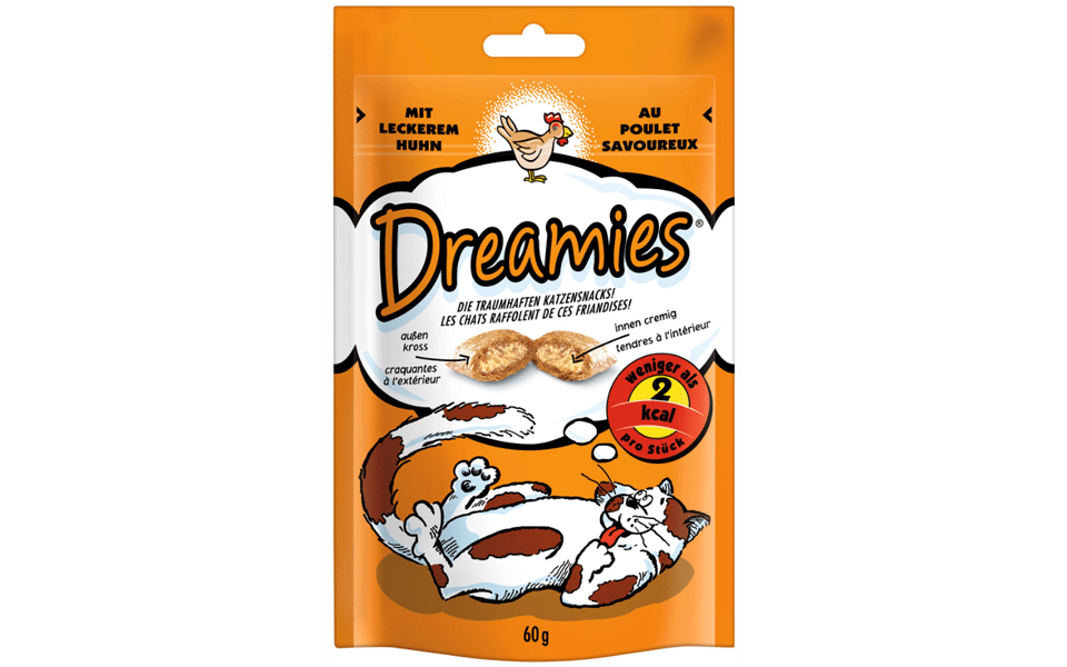 Punga cu recompense pentru pisici Dreamies cu pui.