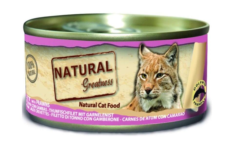 Conserva cu mancare pentru pisici Natural Greatness file de ton și creveti.