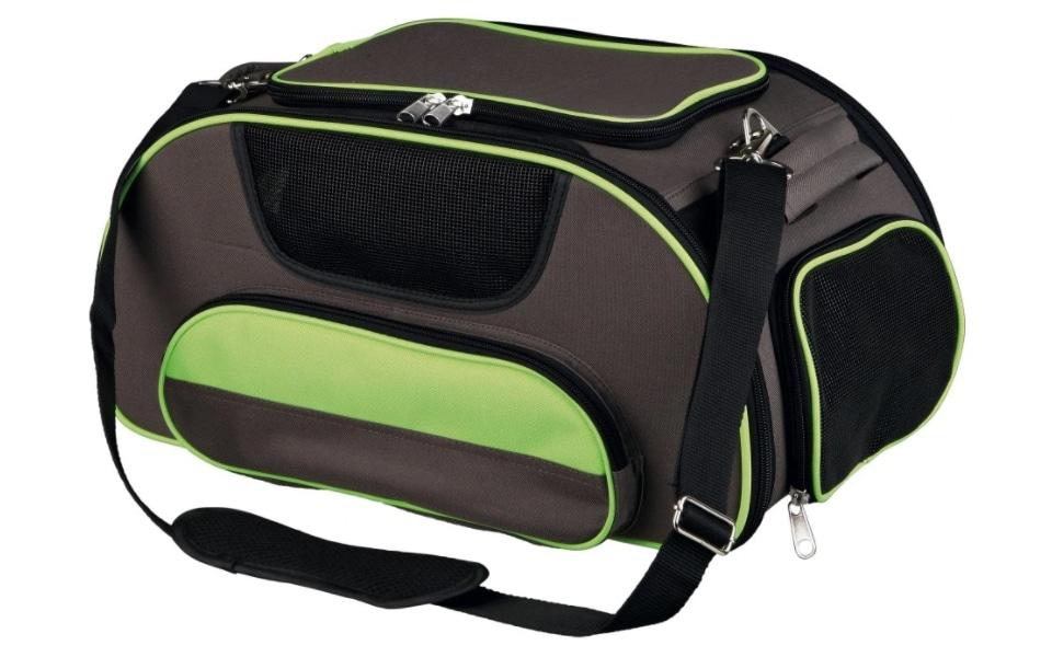Geanta transport pisici negru cu verde.