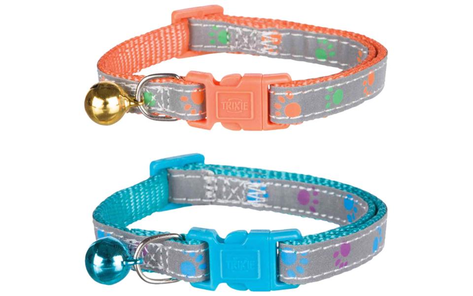 Doua zgarzi reflectorizante pentru pisici, albastru si portocaliu.